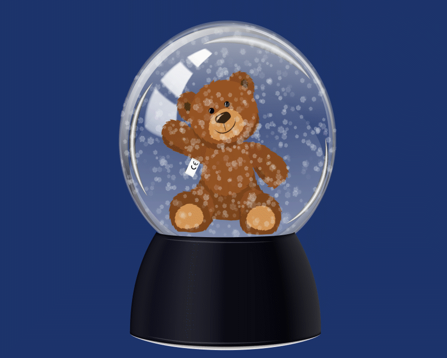 Christmas promo box image warwickshire bear in snow globe