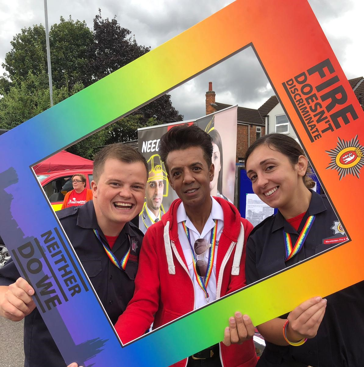 A picture of Imran Dean with colleagues at Warwickshire Pride 2019