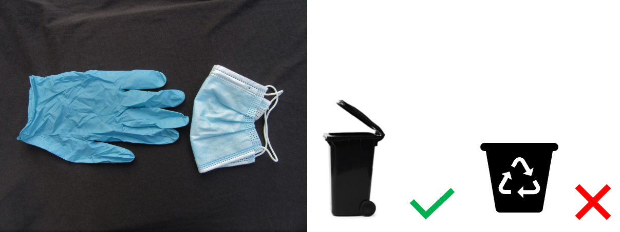 PPE Non recyclable - dispose of in general waste bin