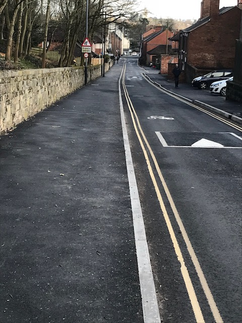 Priory road after footpath widening