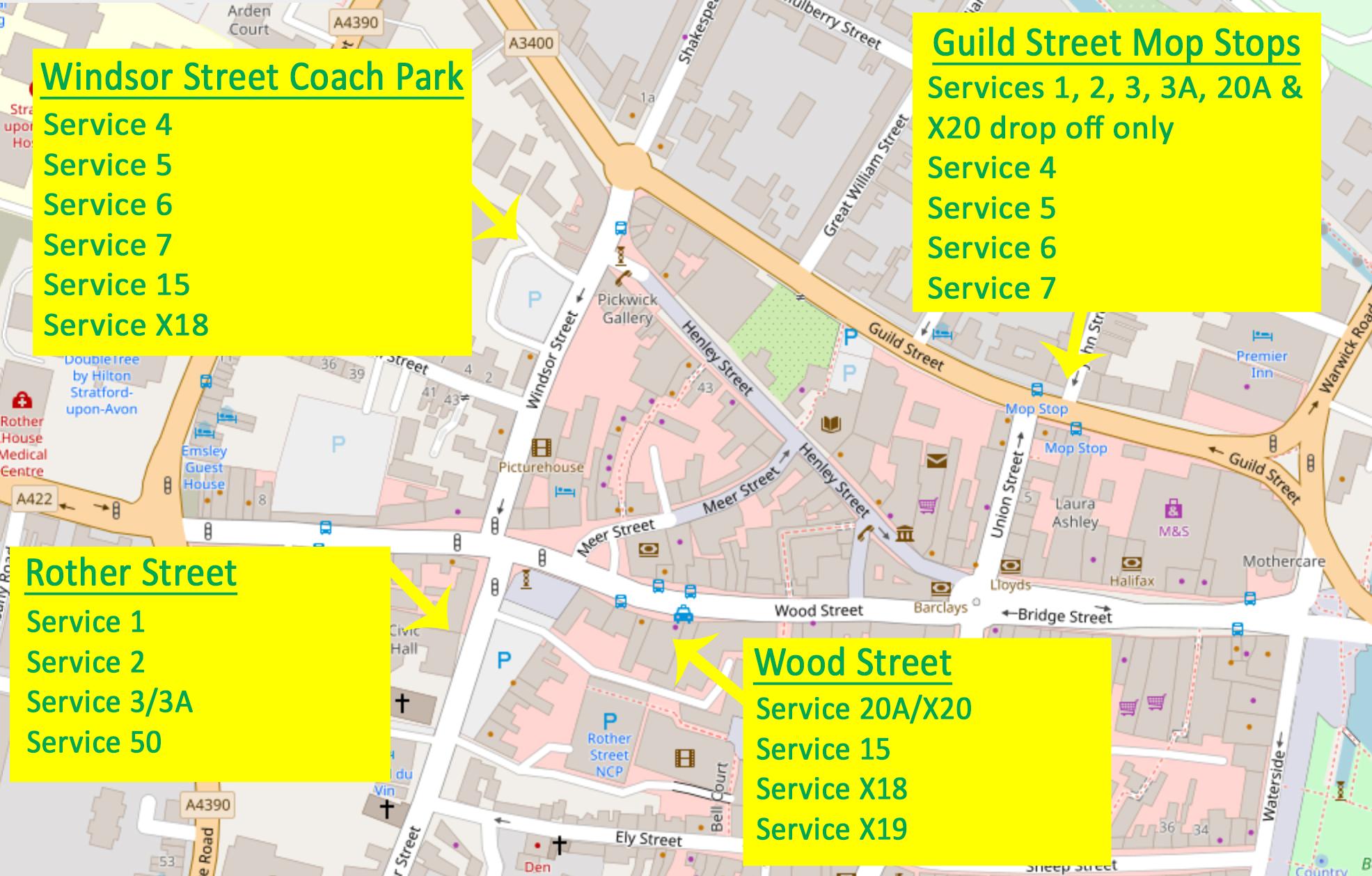 Stratford upon Avon temporary bus stops