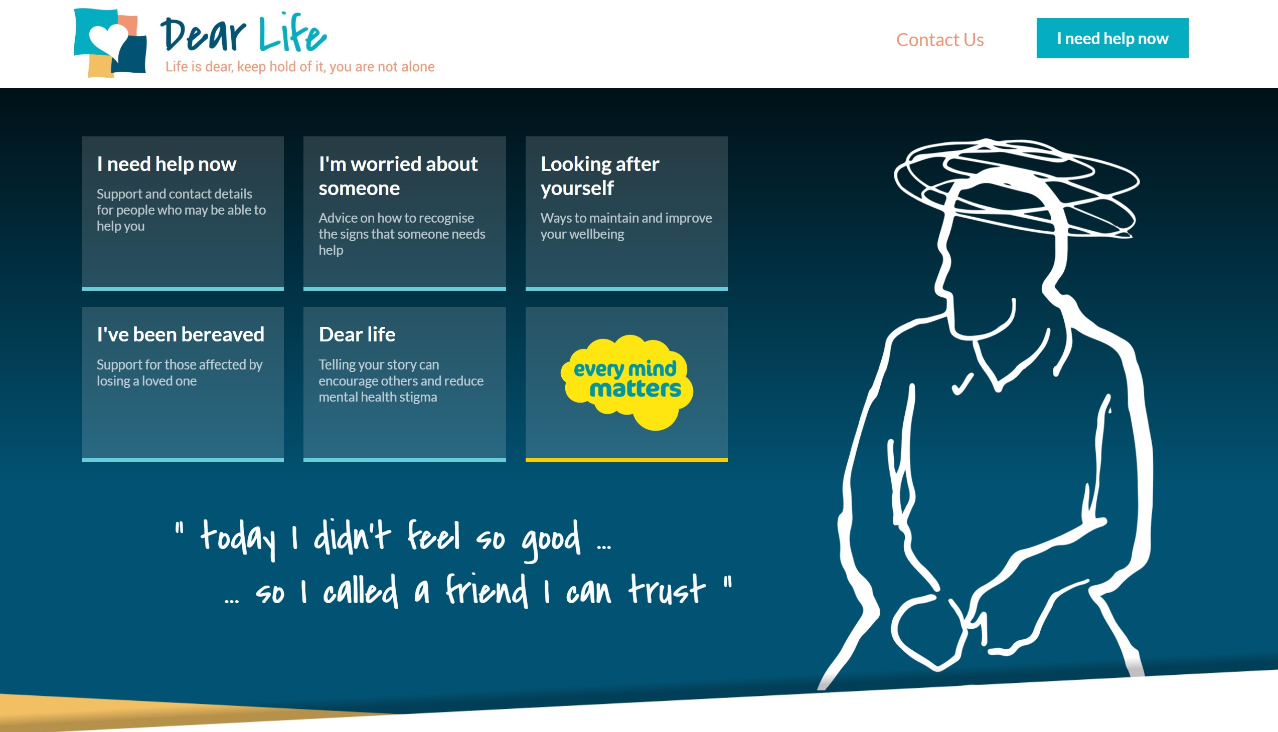 Suicide prevention website home page